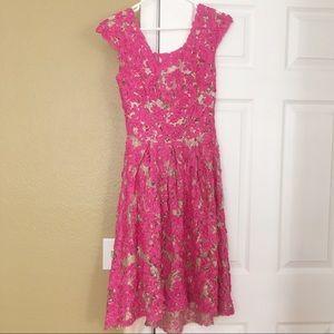 Anthropologie Yoana Baraschi Pink Lace Dress